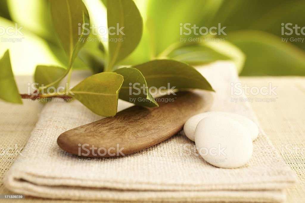 Still life of white pebbles, wood and leaf royalty-free stock photo