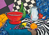 Still life oil painting in the style of Fauvism