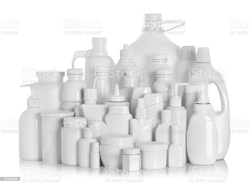 still life portrait group of product packaging stock photo