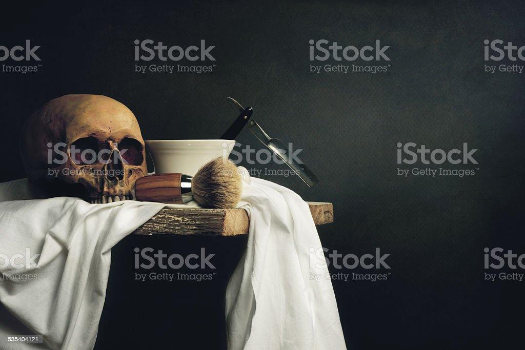 Still Life Shaving Tools with Skull stock photo