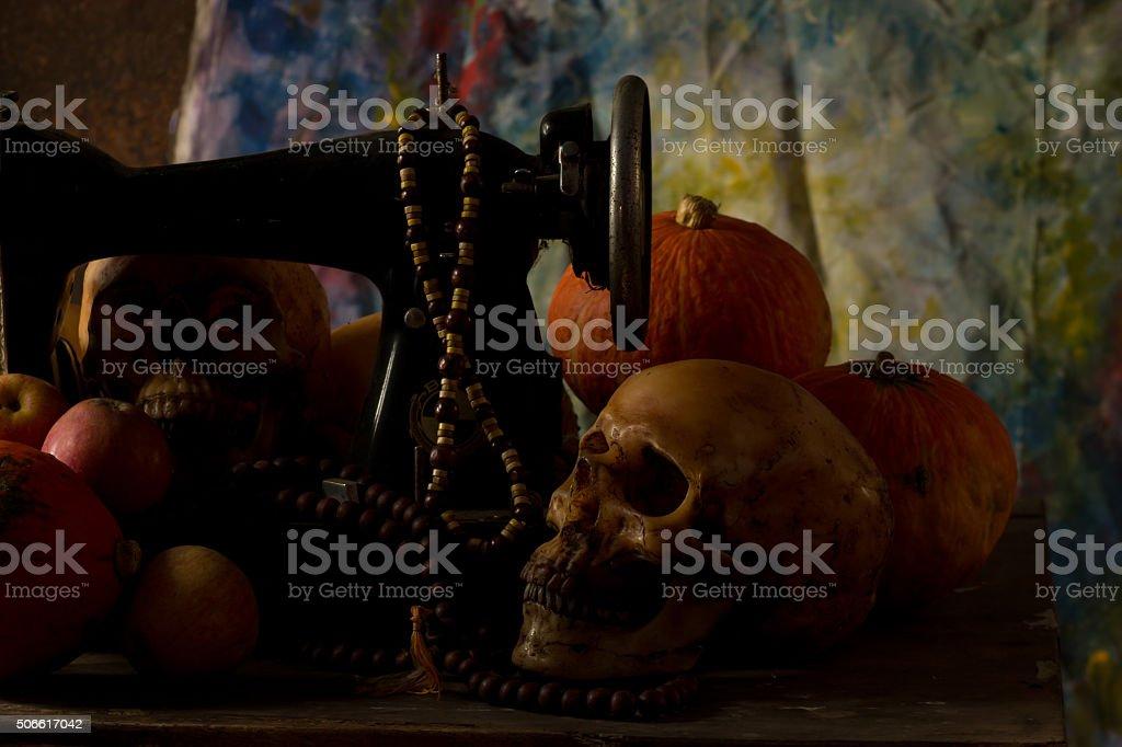 Still Life, Skull skeleton human stock photo