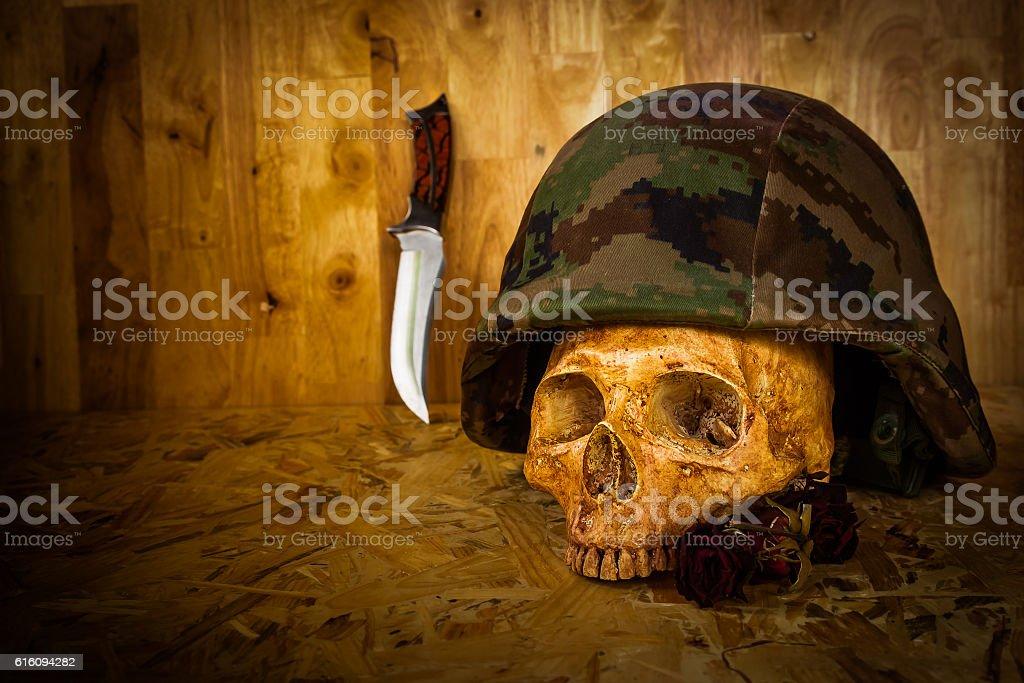 Still life soldier skull stock photo