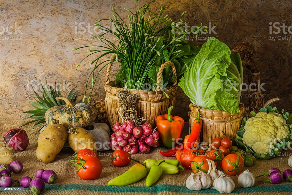 still life  Vegetables, Herbs and Fruits. stock photo