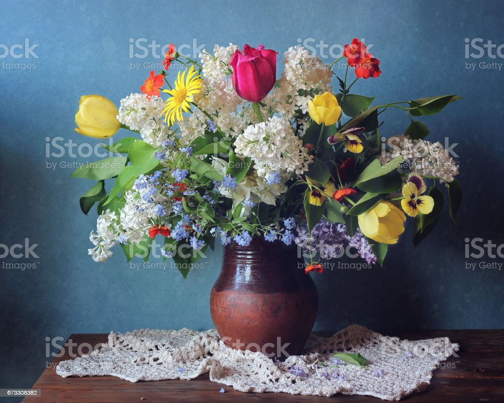 still life with a bouque stock photo