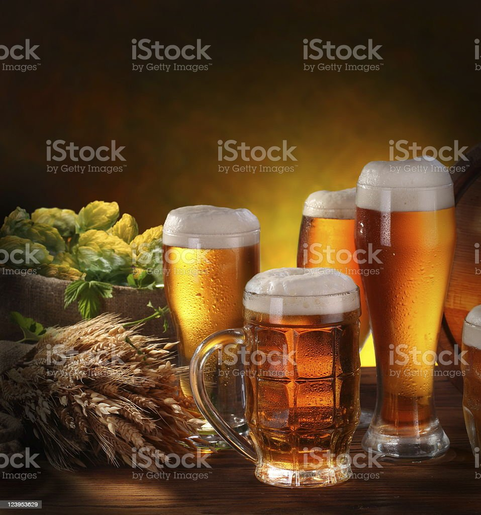 Still Life with a keg of beer royalty-free stock photo
