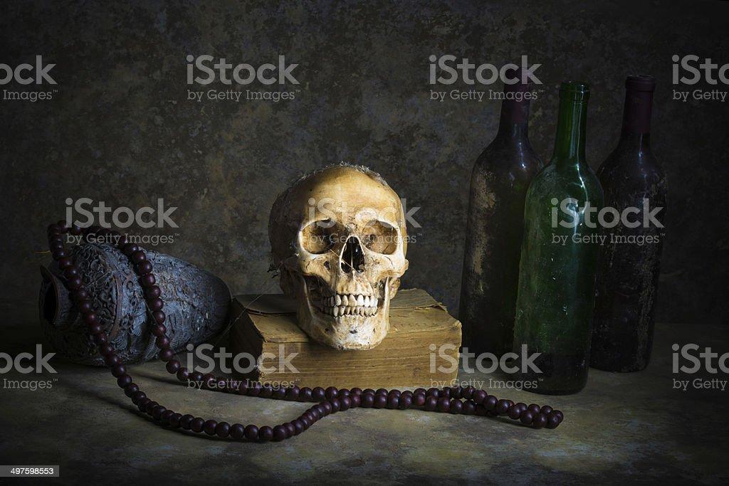 Still Life with a Skull royalty-free stock photo