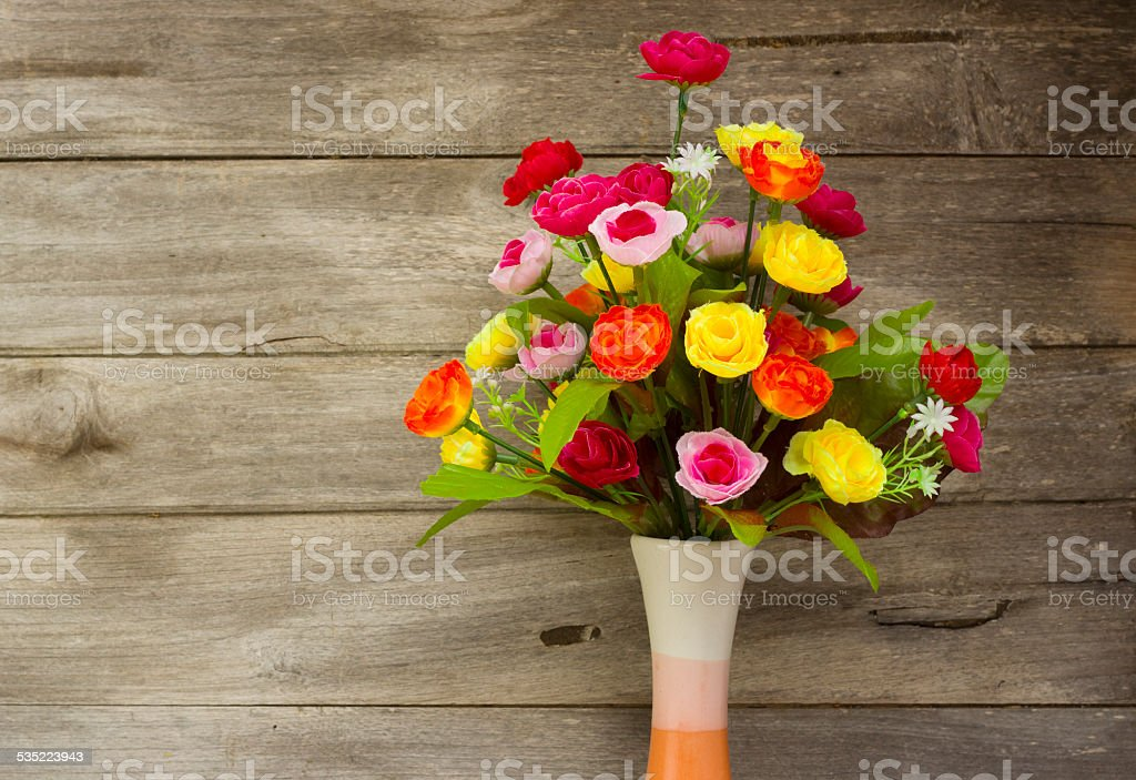 still life with Artificial Flowers stock photo