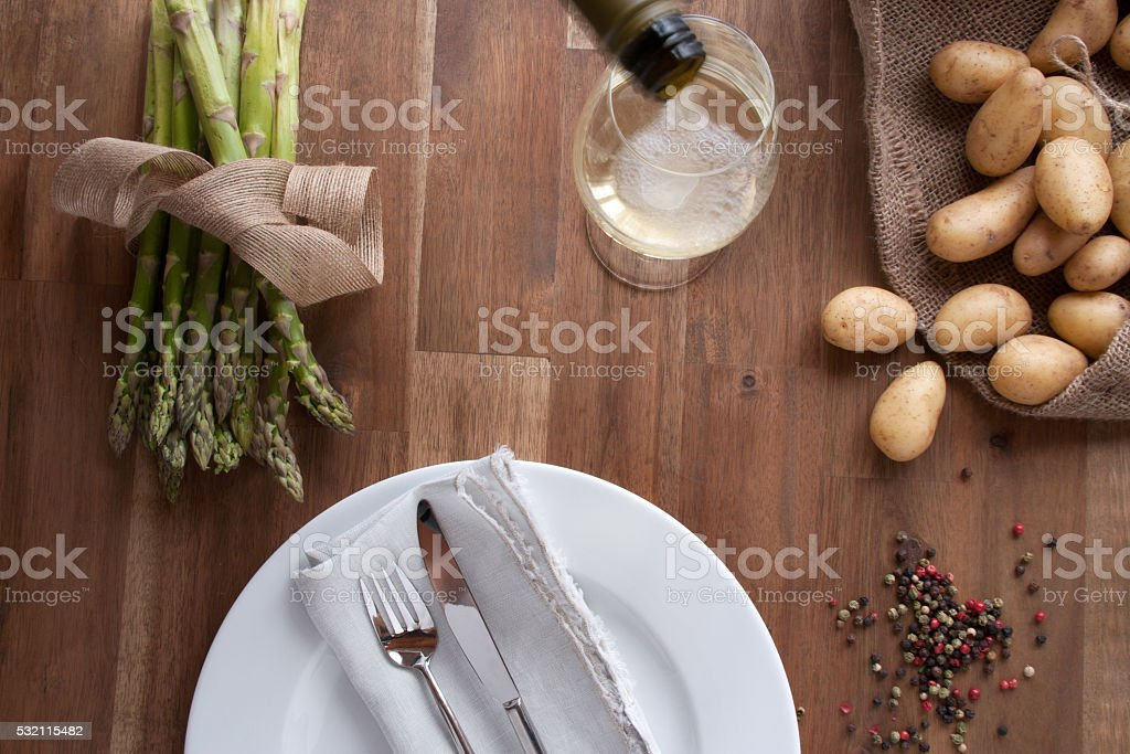 Still life with asparagus and wine stock photo