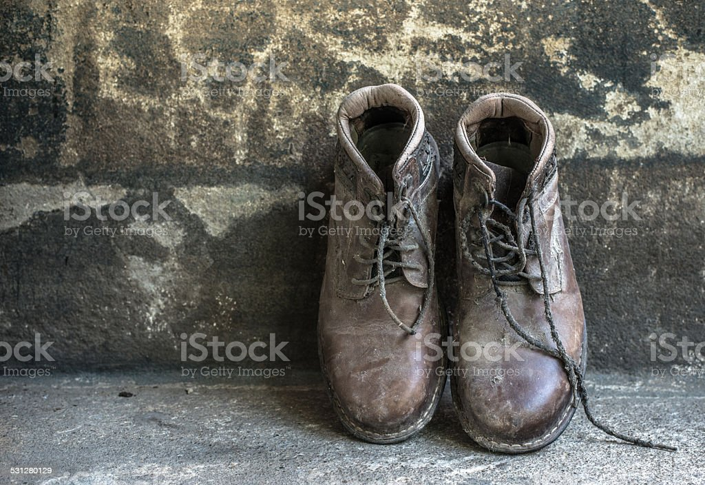 still life with boots stock photo