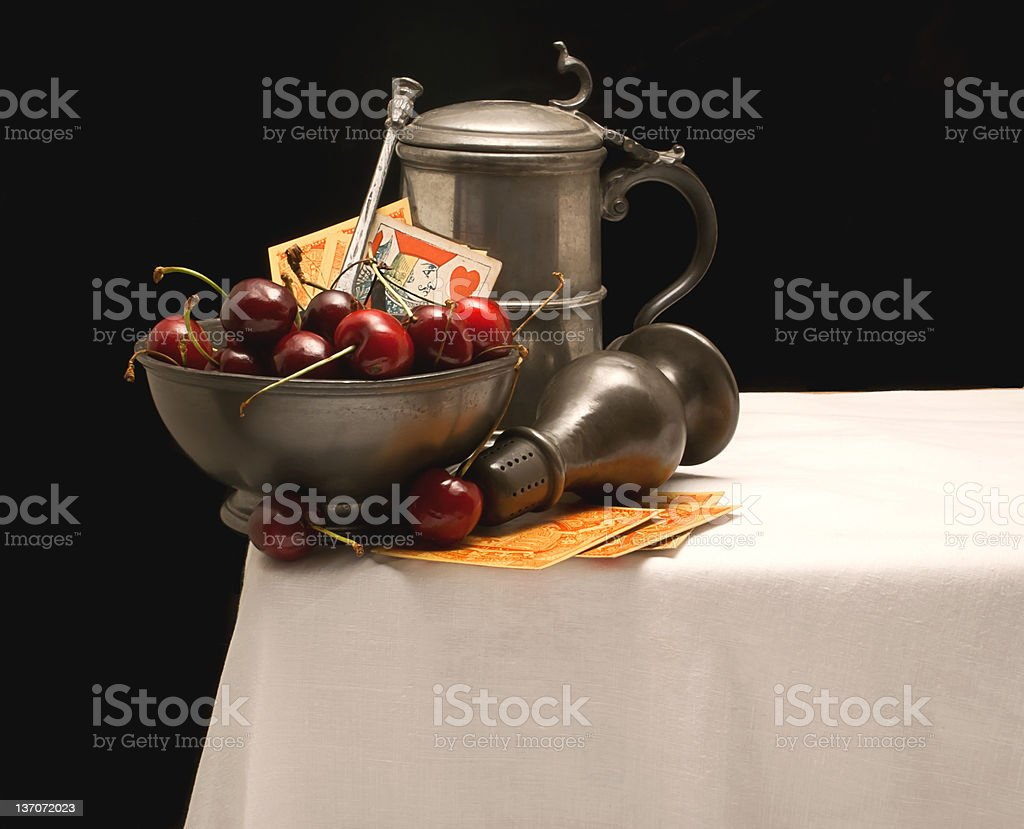 Still Life with Bowl of Cherries royalty-free stock photo