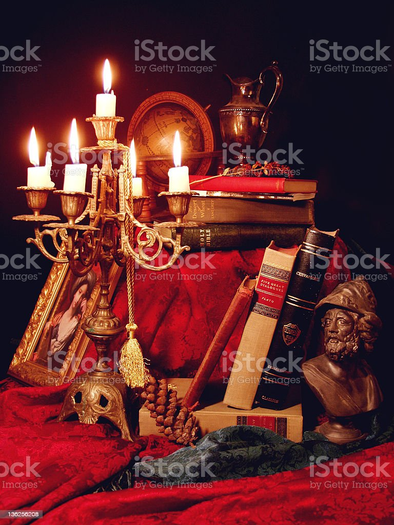 still life with candelabra and books royalty-free stock photo