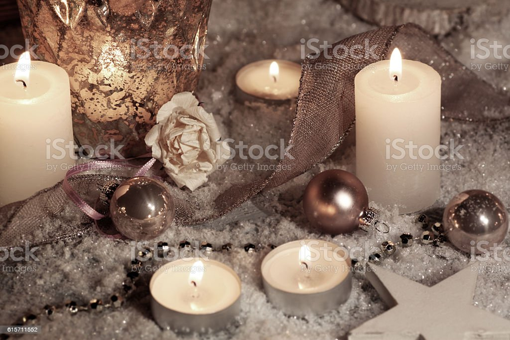 Still life with candles for Christmas stock photo