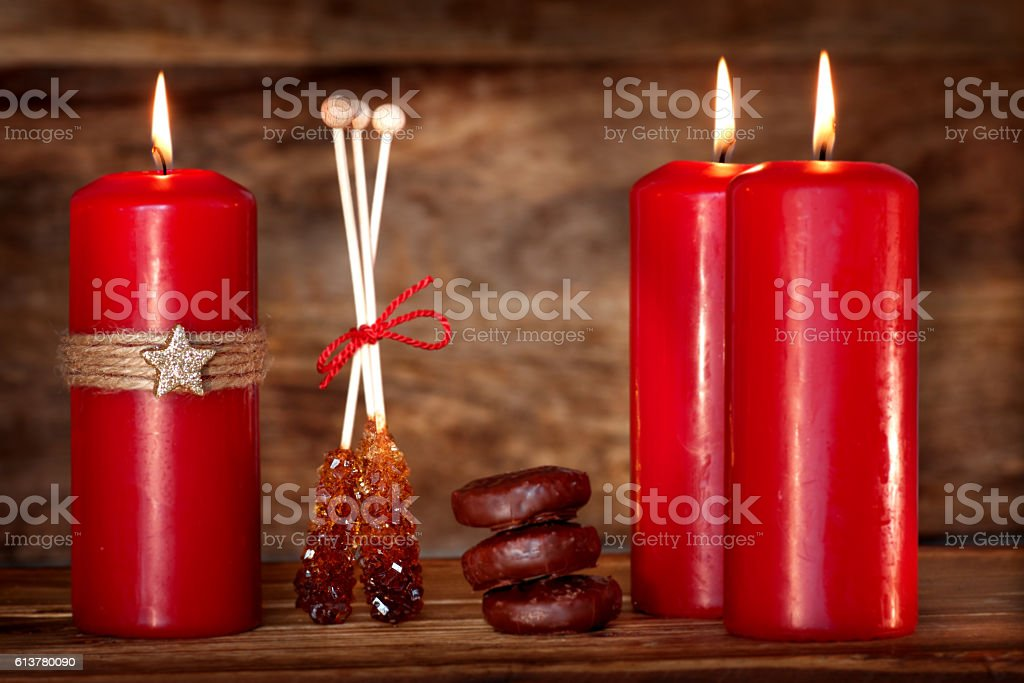 Still life with candles for the Advent season stock photo