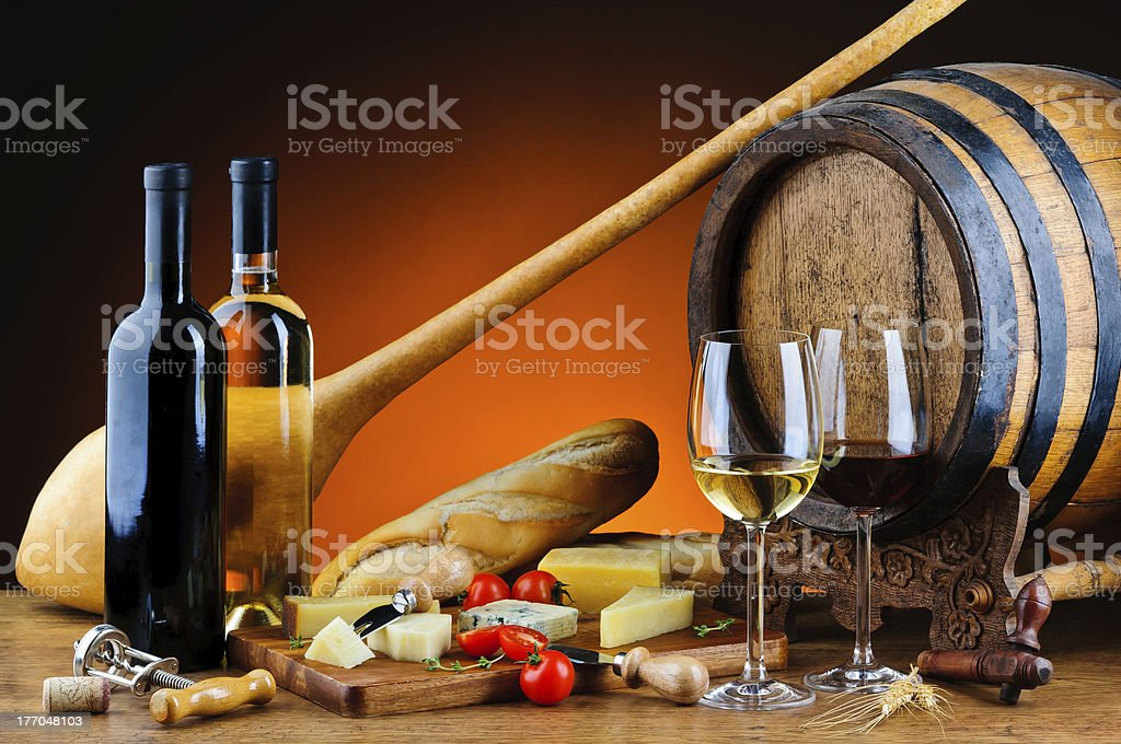 Still life with cheese and wine royalty-free stock photo
