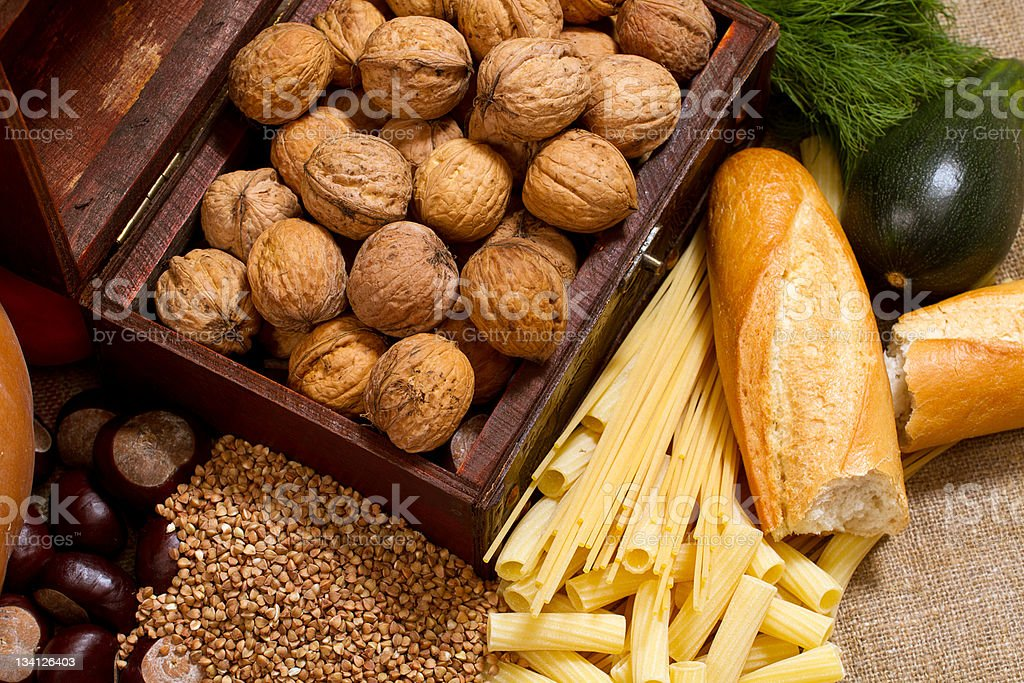 still life with chest, nuts, pumpkin, bread royalty-free stock photo
