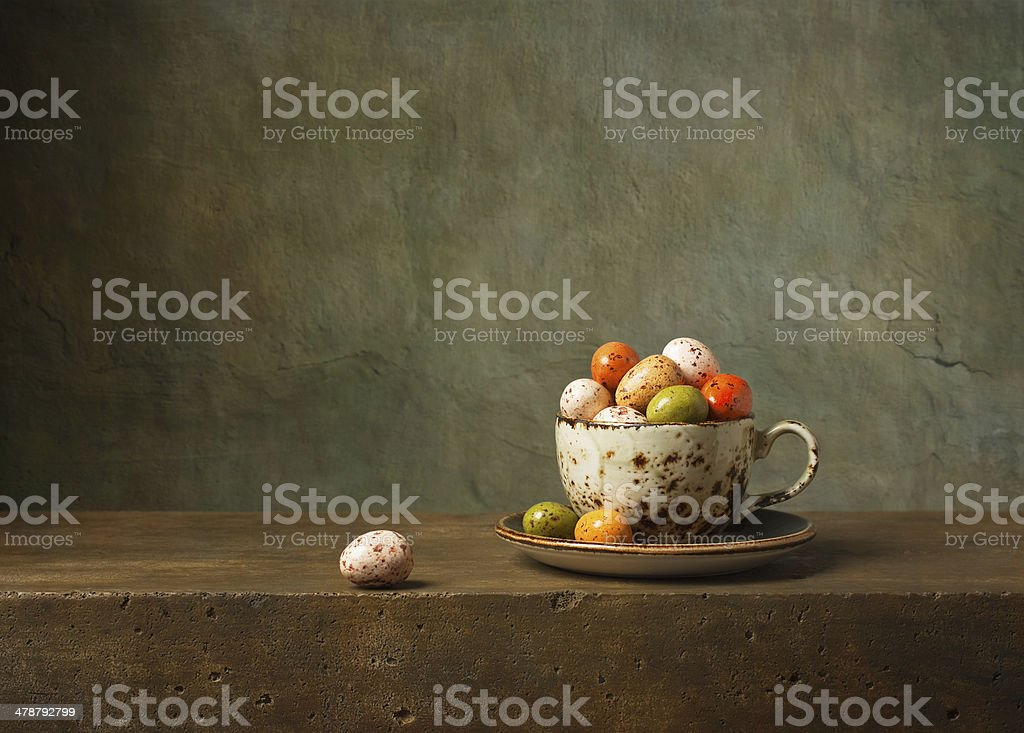 Still life with chocolate easter eggs stock photo