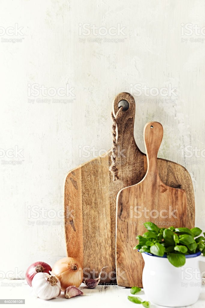 Still life with chopping boards and cooking ingredients stock photo