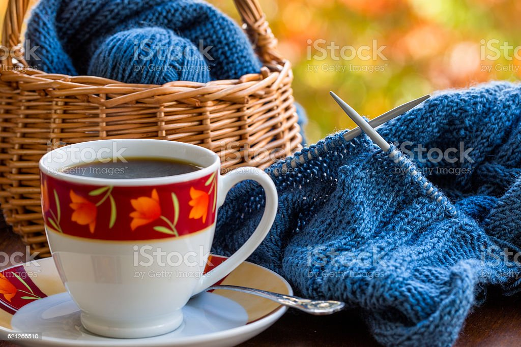 Still life with coffee and knitting stock photo