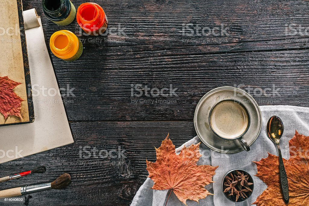Still life with coffee cups and paints stock photo