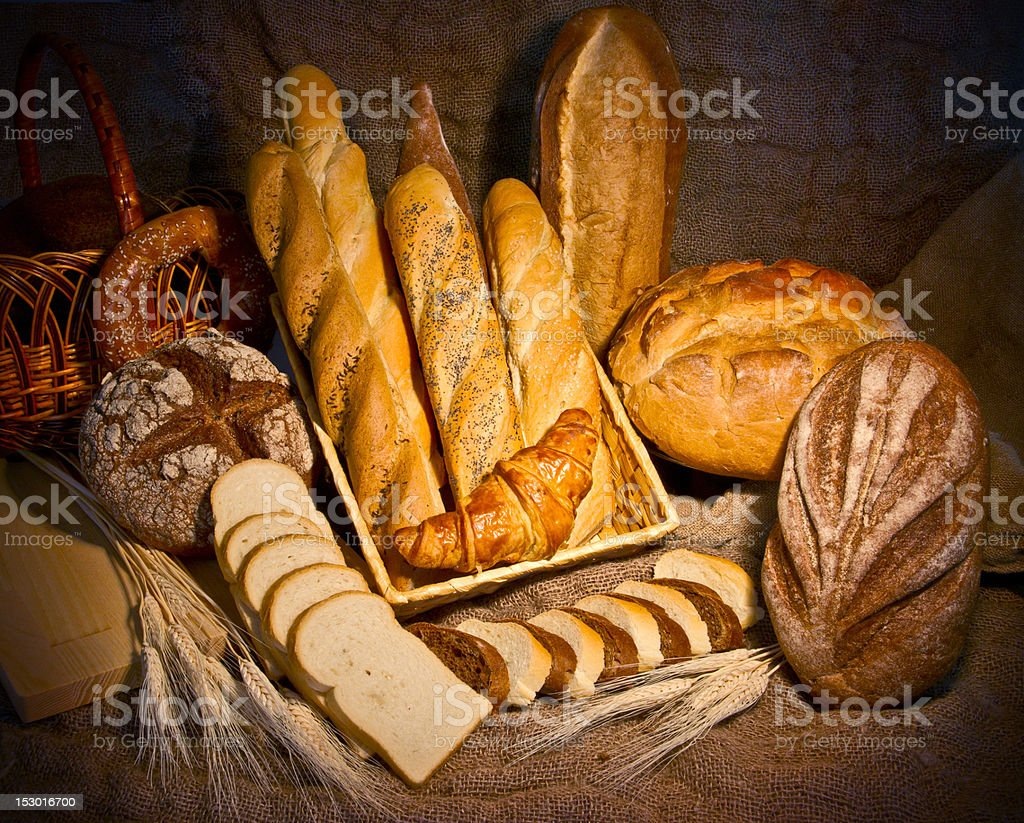 Still life with different kind of bread royalty-free stock photo