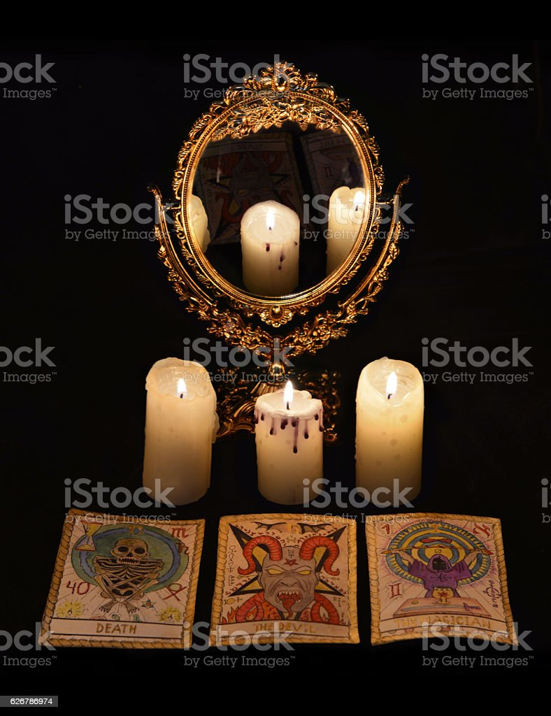 Still life with divination rite objects stock photo