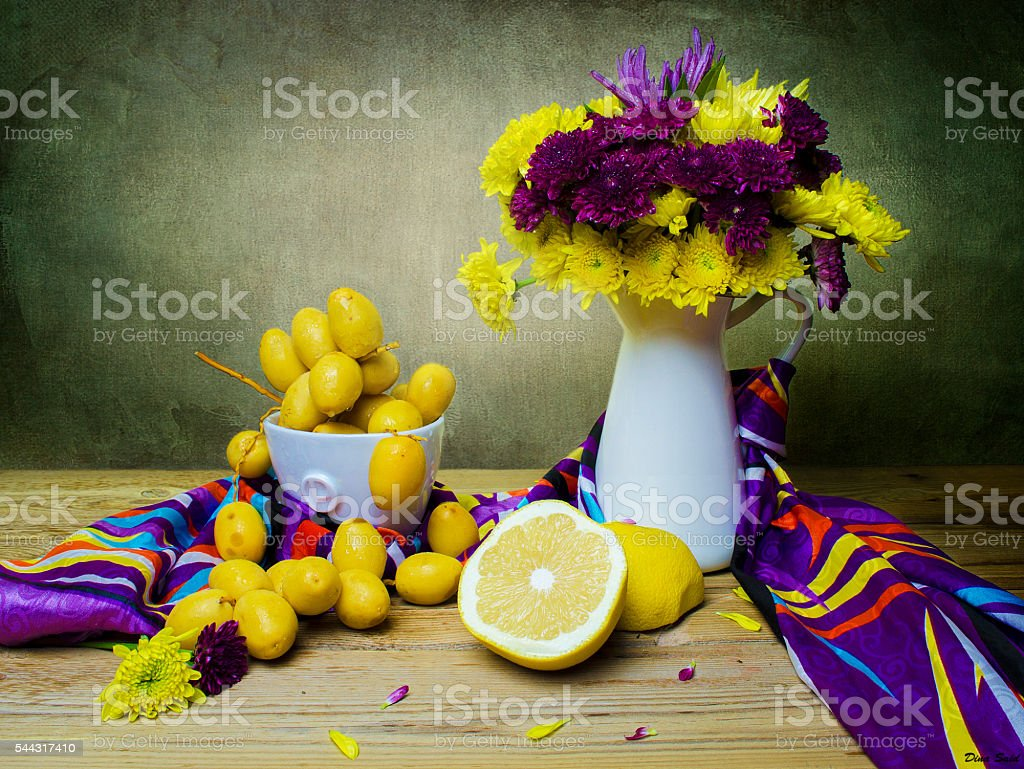 Still life with flowers and fruits stock photo