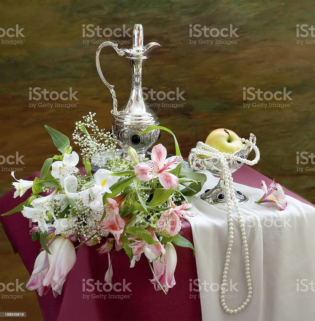 Still life with flowers bunch and fruits stock photo