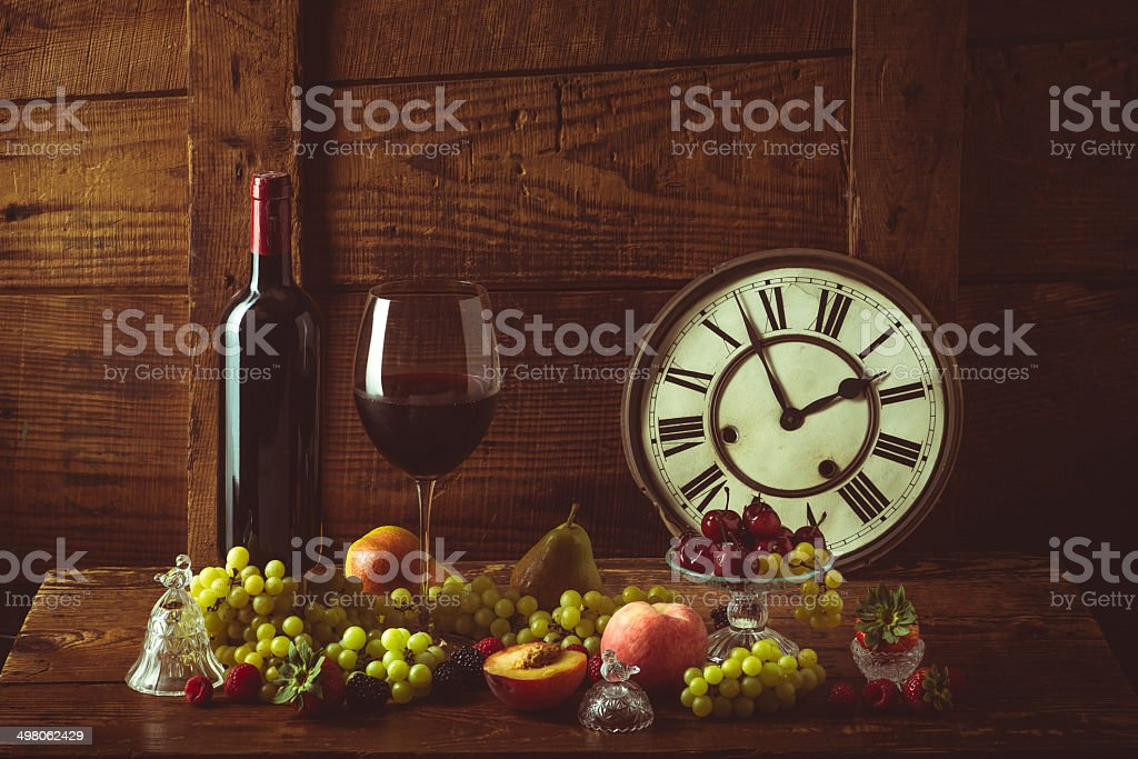 Still life with fruits and wine. royalty-free stock photo