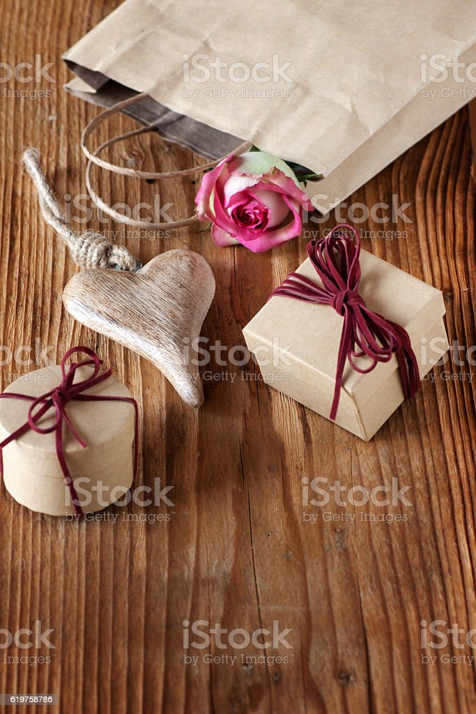Still life with gifts of hearts stock photo