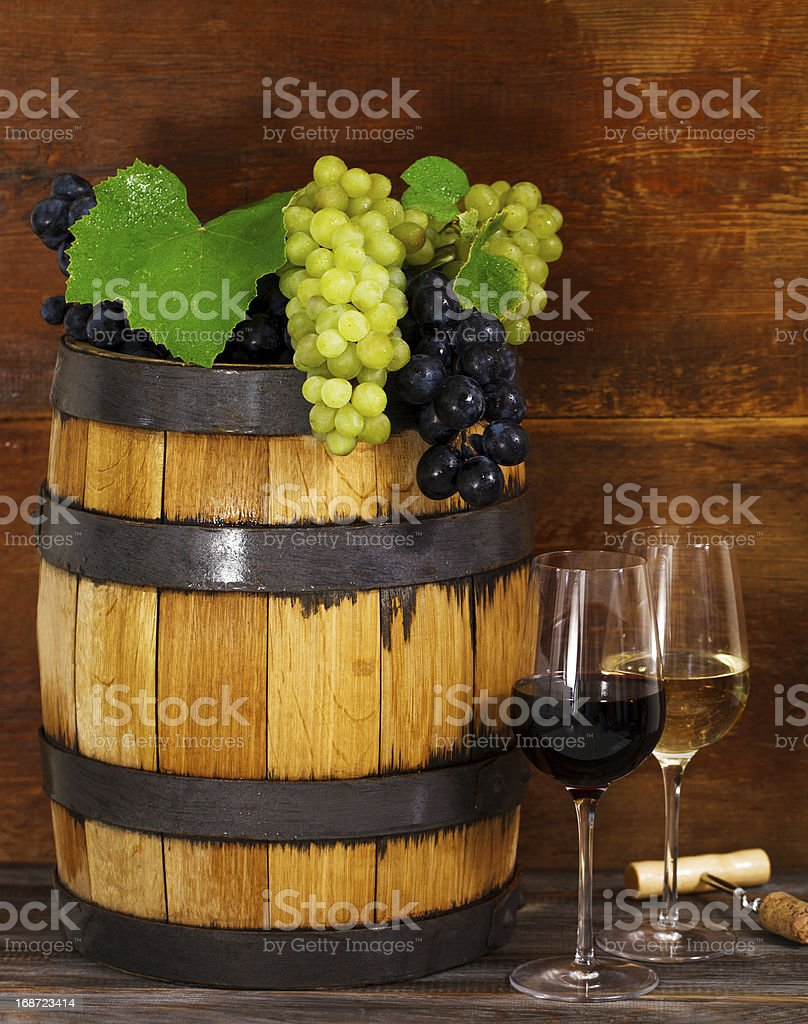 Still life with glasses of the red and white wine stock photo