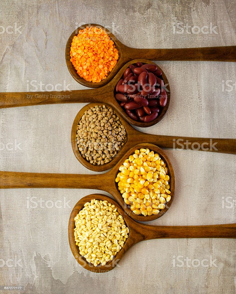 Still life with grains. stock photo