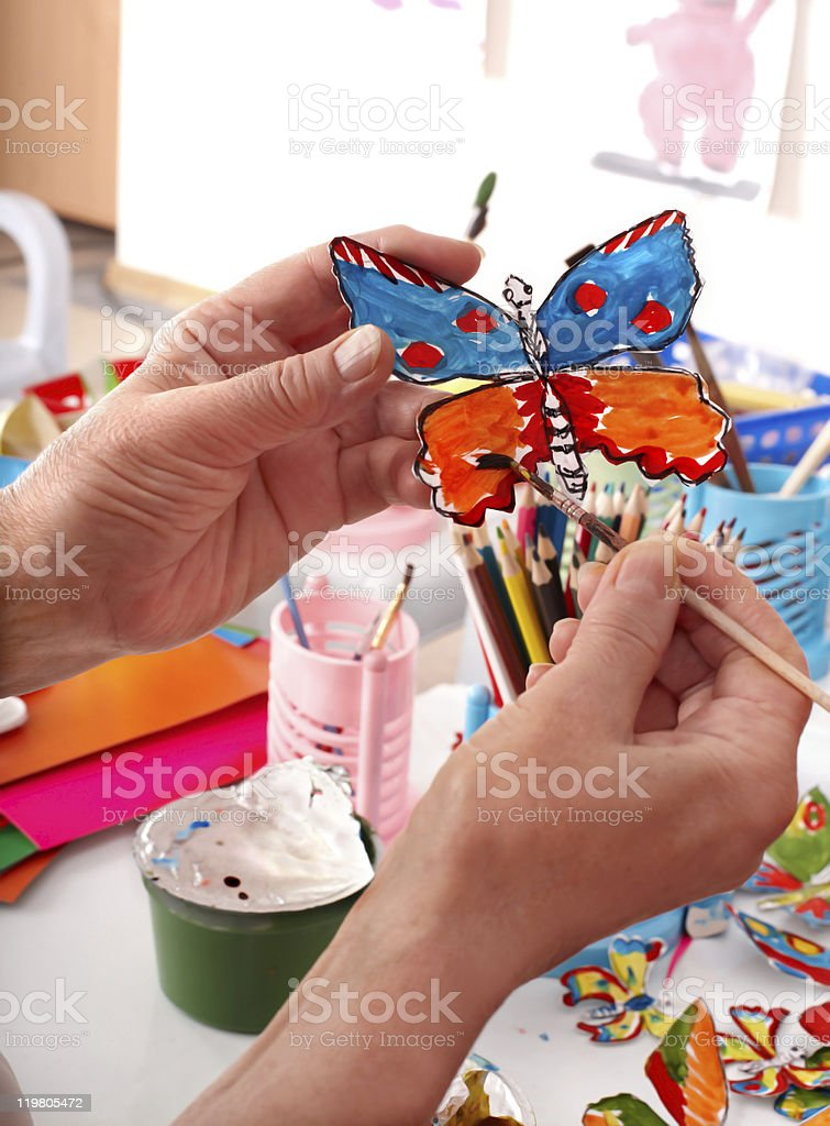 Still life with hands and child applique. royalty-free stock photo