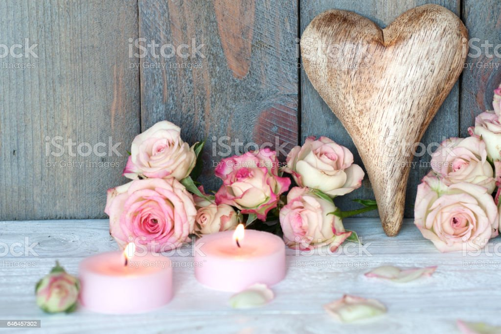 Still life with heart for mothers day stock photo