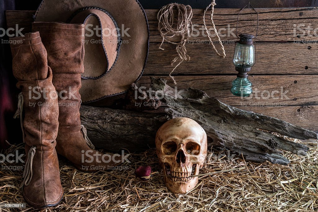 Still life with human skull and rose in barn background stock photo