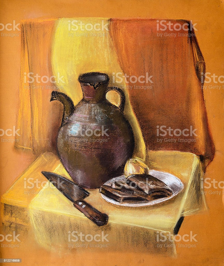 Still Life with Jug. A Painting. Paper, dry pastels stock photo