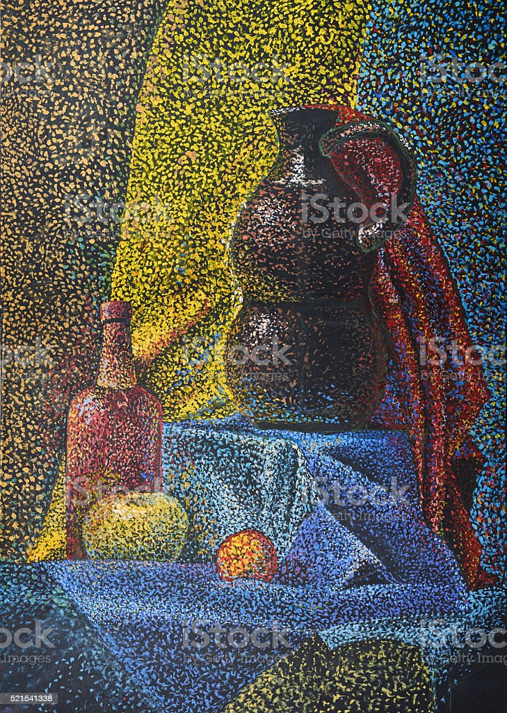 Still life with jug bottle of apple on blue cloth stock photo