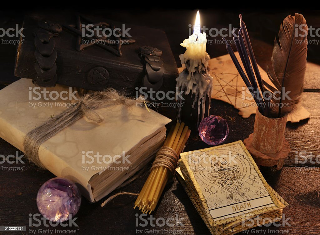 Still life with magic objects and the tarot cards stock photo