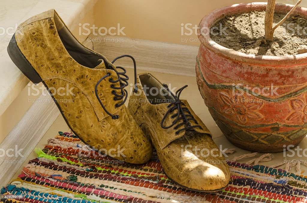 Still life with man shoes stock photo
