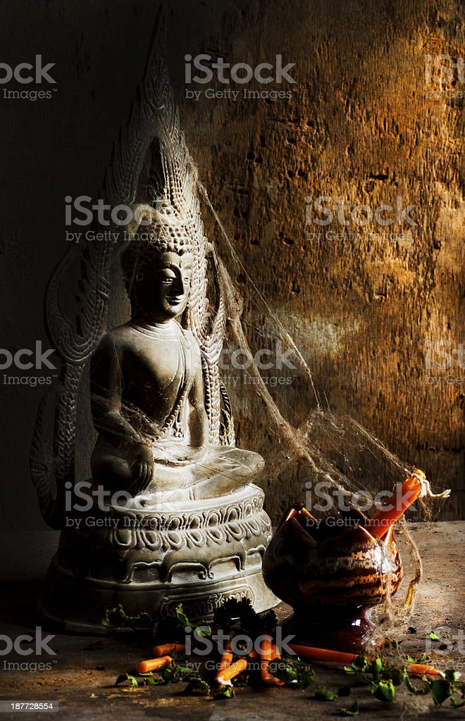 Still Life With old Buddha statue royalty-free stock photo