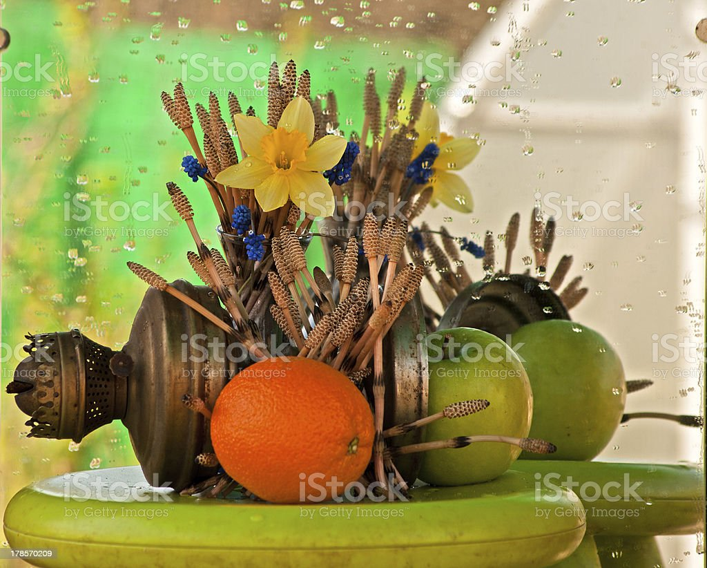 still life with old oil lamp royalty-free stock photo