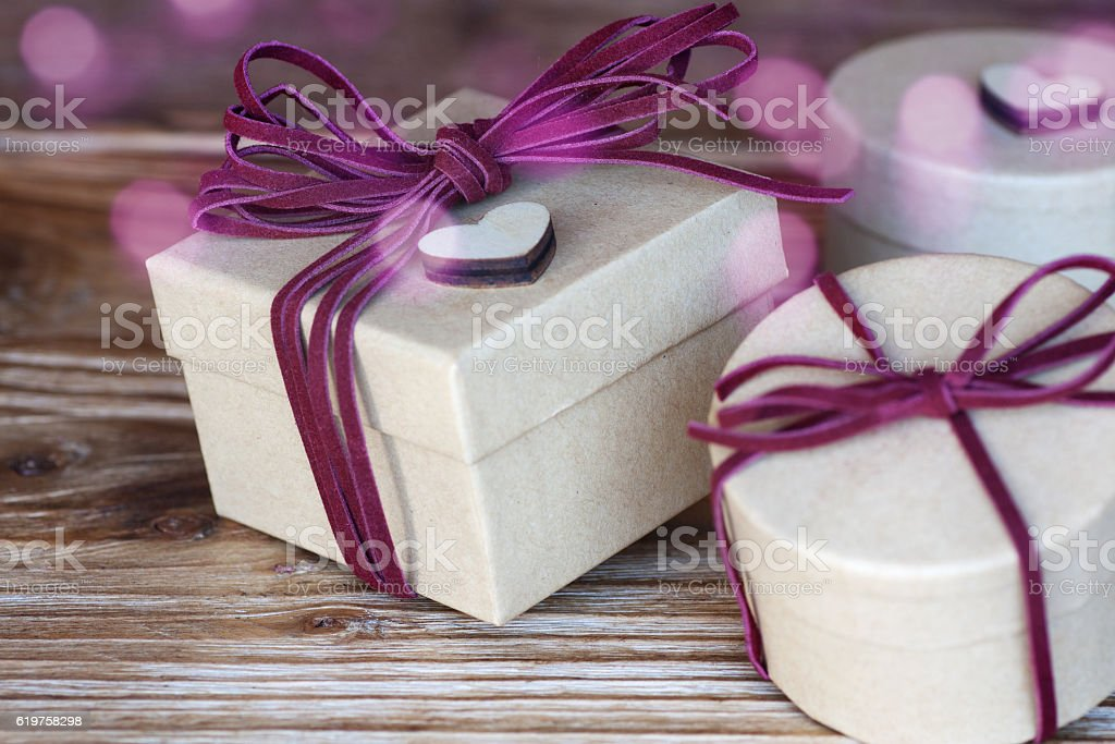 Still life with parcels for birthday stock photo