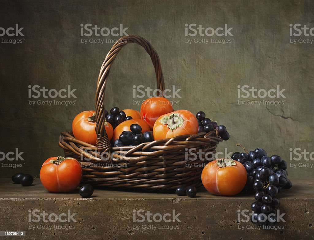 Still life with persimmons stock photo