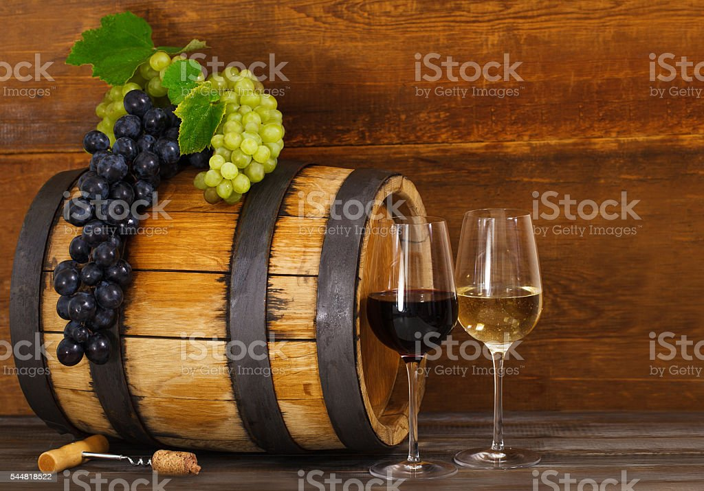Still life with red and white wine stock photo