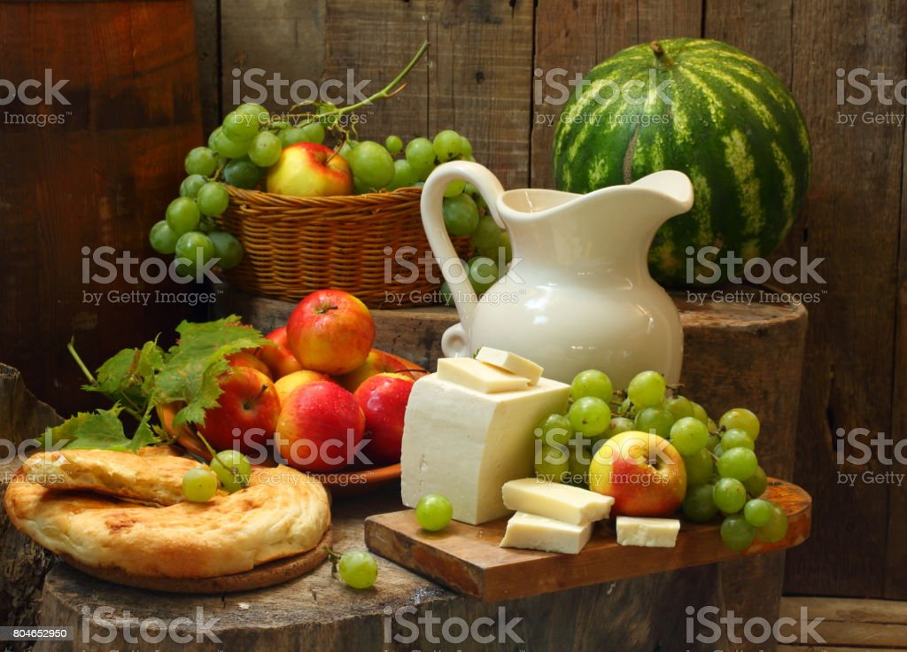 Still life with red wine and watermelon stock photo
