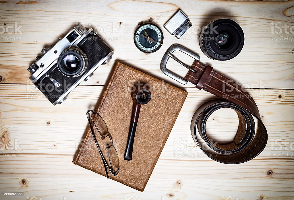Still life with retro object on wood table. stock photo