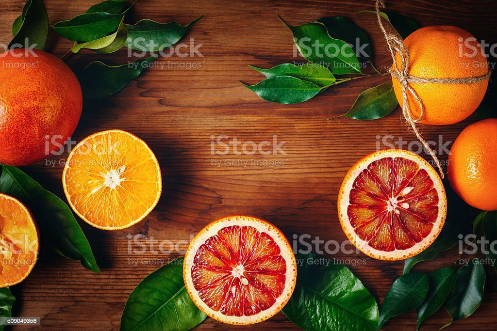 Still Life with Ripe Juicy Citrus Fruits stock photo