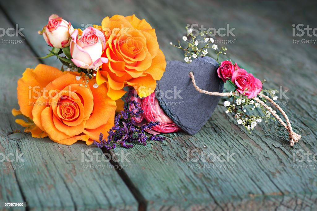 Still life with roses for mothers day stock photo