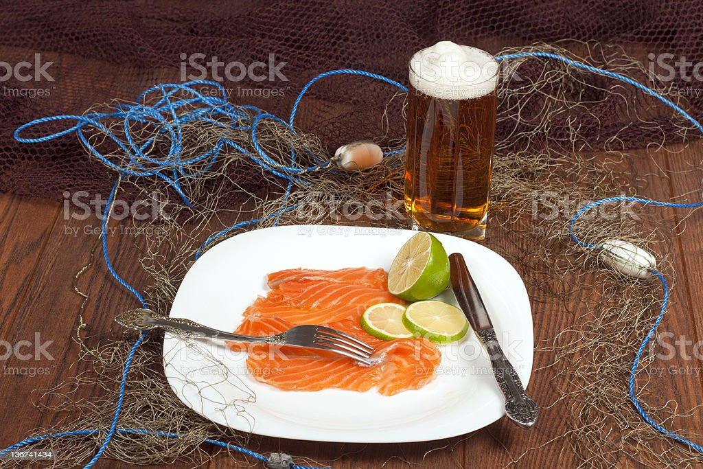 Still Life with Salmon Norwegian stock photo