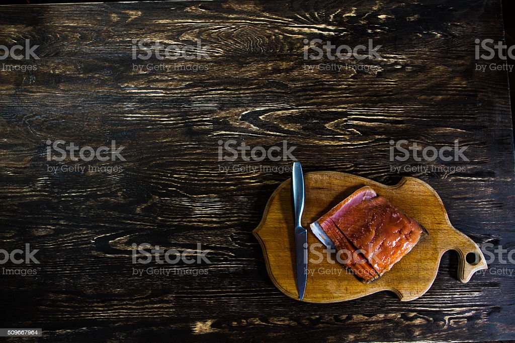 Still Life With salted salmon fillet stock photo
