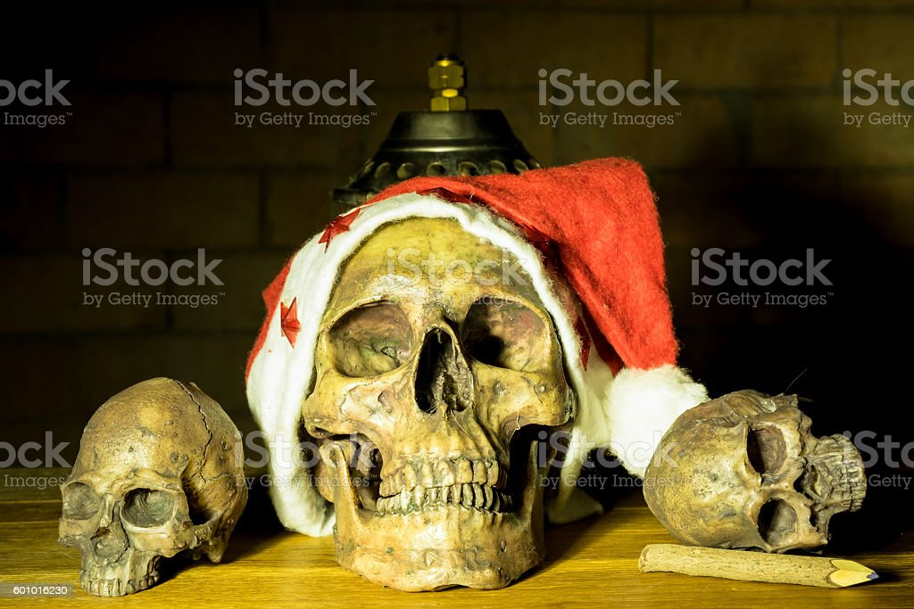 Still life with skull in christmas day, dark concept stock photo